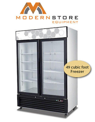 Migali C 49fm Two Door Hinged Glass Freezer 49 Cu Ft Free Shipping
