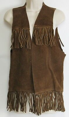 Brown Leather Suede Fringe Hippie Vest 1970s Native Biker Mens Womens Lg