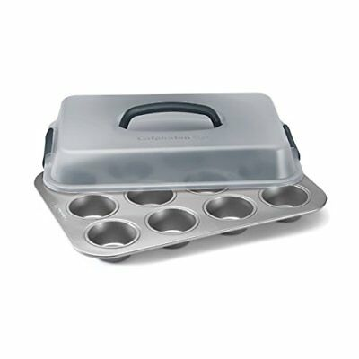 """Calphalon Nonstick Bakeware 12-Cup Covered Cupcake Pan 9"""" x 13"""" Kitchen Dining"""