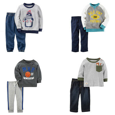 New Carter's Baby/Toddler Boys' 2 Pc Long Sleeve Shirt/Joggers Or Jeans Set