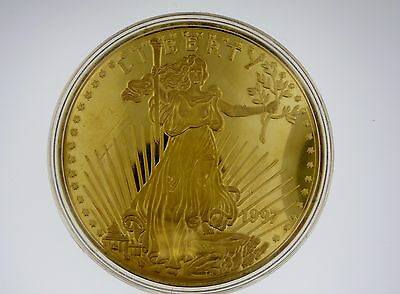 1997 Walking Liberty 8 troy Ounce .999 Pure Silver Art Round 24k EGP