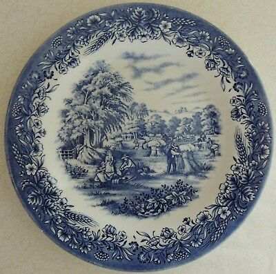 """NEW Blue & White Currier and Ives """"Harvest"""" Dinner Plate 10.25"""" Microwave Safe"""