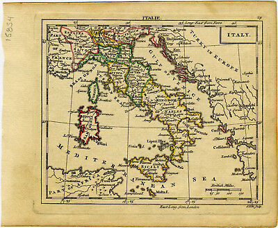 1761 Genuine Antique miniature hand colored map of Italy. by A. Dury