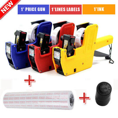 3 IN 1 8 Digits EOS Price Tag Gun MX-5500+5000 White/ Red Lines Labels+1 Ink NJ