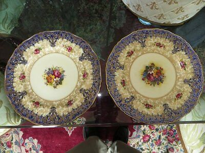 """Antique Pair Of Royal Worcester Heavy Decorated Floral Dinner Plates 10.5""""d"""