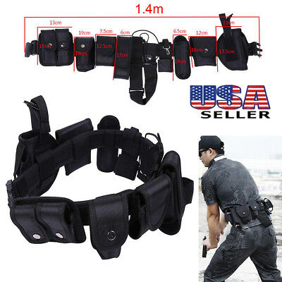 9 Pouches Tactical Army Police Security Guard Duty Utility Belt Pouches System