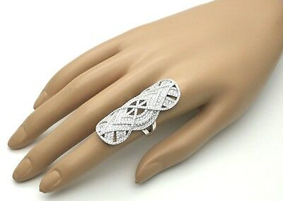 Women's Ladies Genuine Solid 925 Sterling Silver Cubic Cocktail Long Finger Ring