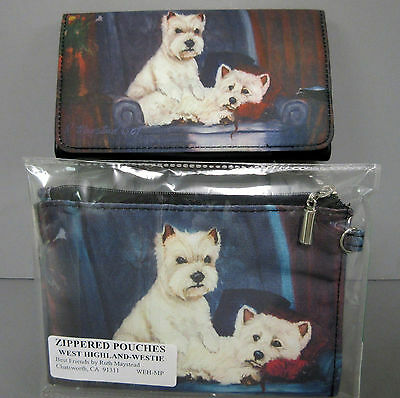 New West Highland White Terrier Westie Dog Zippered Pouch & Wallet 2 Dogs