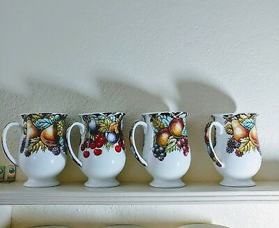 """Fine Bone China 4 Tall Cups By Wren-Theme is """"Trellis Fruit"""" Very Nice Gift!"""