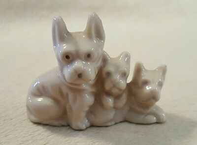 Vintage Miniature Figurine 3 French Bulldogs Collectible Made in Japan