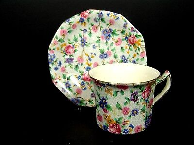 Chintz Royal Winton Grimwades Cup and Saucer England Ivory Old Cottage Chintz
