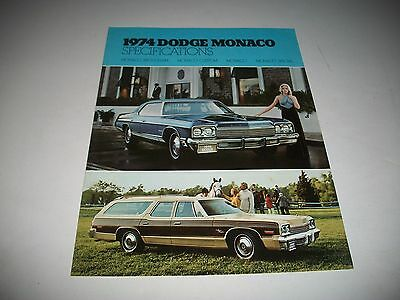 1974 Dodge Monaco Cdn Issue Specifications & Options Brougham Custom Special