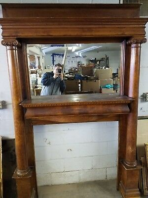 Antique Birdseye Maple Carved Mantle Fireplace with Beveled Mirror