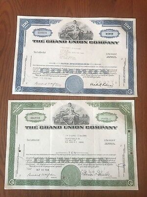 2 Different Grand Union Company Vintage stock certificates
