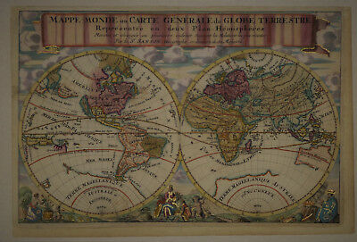 1680 Genuine Antique hand colored map of the World in hemispheres. by N. Sanson
