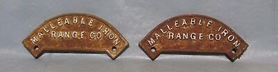 2 Vintage Industrial Machine Age Cast MALLEABLE IRON RANGE CO. name plate