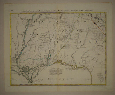 1778 Genuine Antique map Louisiana, Florida, Carolina, Gulf Coast. A. Zatta