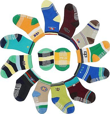 12 Pairs Toddler Baby Boys Anti-slip Assorted Cotton Sock