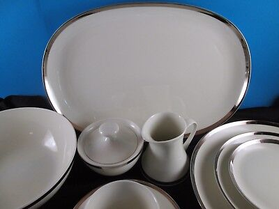 45 pc Bidasoa Block New York Made in Spain Platinum Pattern China RARE Vintage