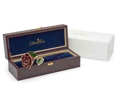 """Ruby Red Natural Rose Glazed & Trimmed with 24K Gold 12"""" - Perfect Gift!"""