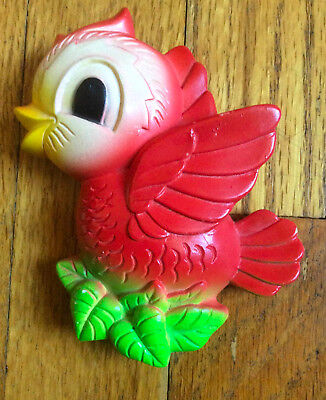 Vintage Miller Studios 1972 Chalkware Cute Red Green Bird Small Wall Decoration