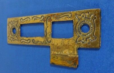 Antique Brass Plated Iron Door Lock Face Plate 3 7/16 Inches