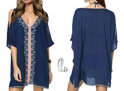 a12c0a3139 Au Stock Soft Cotton Embroidery Kaftan Tunic Kimono Top/Bikini Cover Up  Sw081