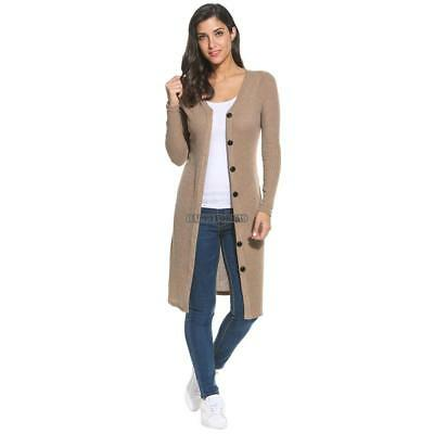 Women's V-Neck Long Sleeve Button Down Long Ribbed Knit Cardigan Sweater hfor