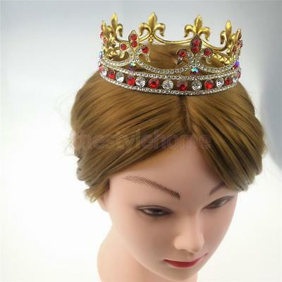 MagiDeal Baroque Rhinestone Gold Crown Wedding Headpiece Pageant Costume