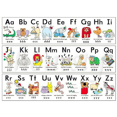 "17"" x 13"" Animal ABC Alphabet Learn Children Educational Silk Cloth Poster Decor"