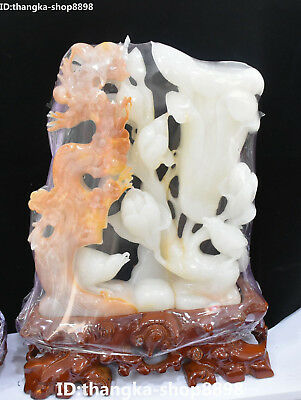Real China Natural White Jade Carved Plum blossom Flower Magpie Bird Statue