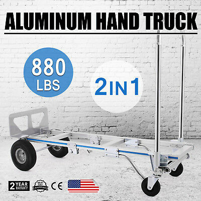Hand Truck Dolly 2-In-1 Convertible Hand Truck Cart 2 to 4 Wheeler Aluminum