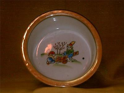 Vintage Made in Japan Child's Feeding Bowl-Children on Seesaw-Luster-Multicolor