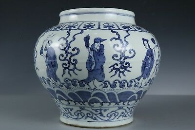 Chinese Fine Beautiful Big Blue and white porcelain character Pot