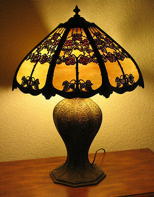 Beautiful Antique Circa 1920's Slag,Stained,Leaded Glass Table Lamp Base