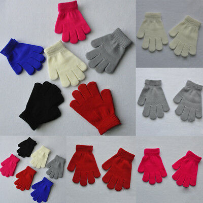 2 Pair Children Kids Girls Boys Magic Gloves Stretchy Warm Winter Knitted Gloves