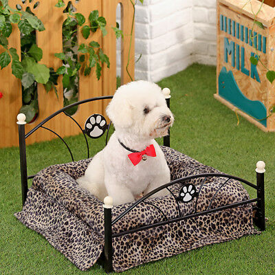 Small Dog Pup Raised Bed Metal Frame Pet Cat Kitten Cushion Mattress Stable Bed