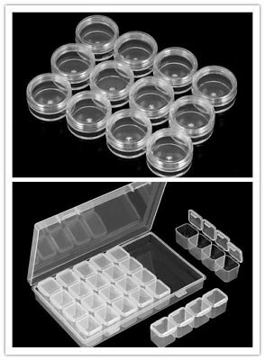 Empty 28 Space Box Container Case Nail Art Tips Gems Rhinestone Storage Tool US