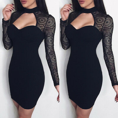 Women Sexy Bridesmaids Pencil Dress Bandage Bodycon Long Sleeve Evening Cocktail