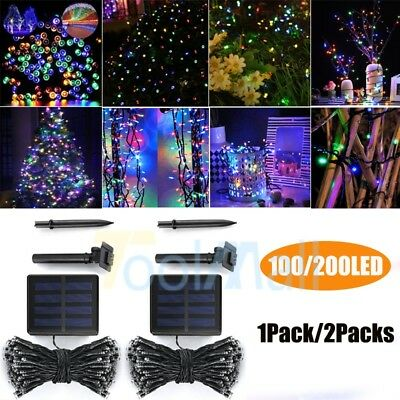 Solar Powered 100/200 LED String Fairy Lights Garden Outdoor Wedding Party Lamp
