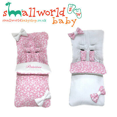 Personalised Girls Pink Flower & White Reversible Footmuff  (NEXT DAY DISPATCH)