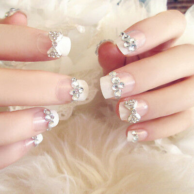 24pcs Bride Wedding 3D Fake False Artificial Fake Nails Tips French Bow Finger