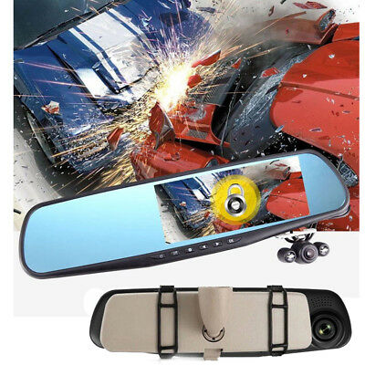 "2.8"" Full HD 1080P Dual Lens Car DVR Rearview Mirror Video Dash Cam Camera DVR"