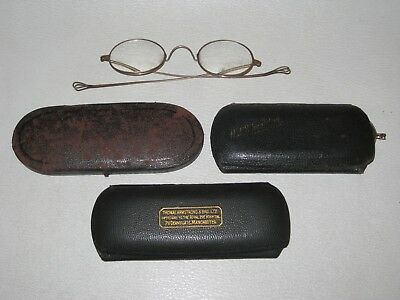 Antique Wire Rimmed Gold Plated Spectacles in Cases 4 pairs - Steampunk