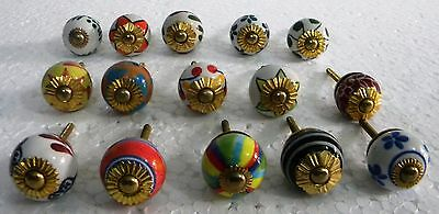 Vintage style Multi Color Ceramic  Knobs Drawer / Door Handle Pulls Lot of  15