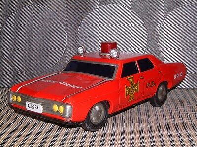 """Alps Vintage Tin Chevrolet Impala """"fire Chief"""" Car Battery Operated & Working!"""