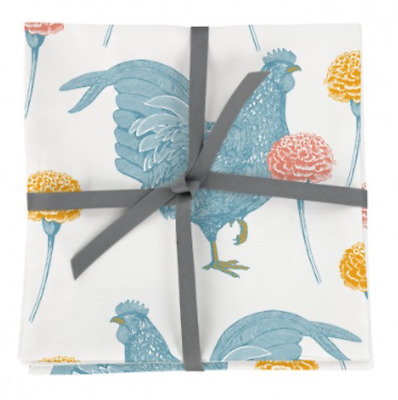 Set of 4 THORNBACK & PEEL CHICKEN and CARNATION 100% Cotton NAPKINS New