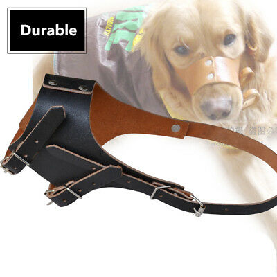 Puppy Large Dog  Leather Muzzle Barking Biting Chewing Stopper Adjustable