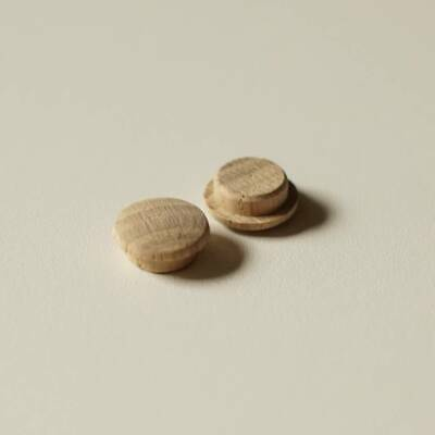 Solid Oak Mushroom Head Plugs for 12mm Hole - Wooden Stairs / Joinery Buttons