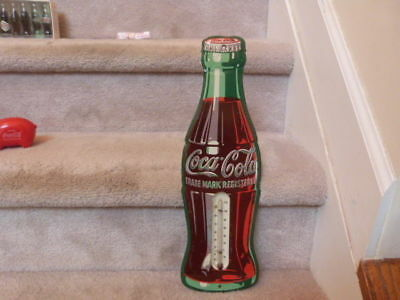 VINTAGE 1950s Tin Coca Cola Bottle Thermometer 17""